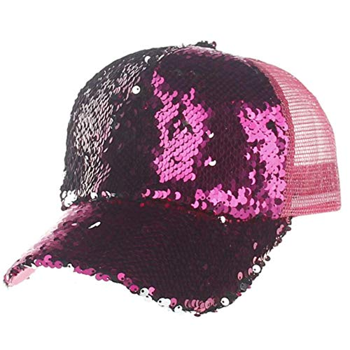 Unisex Baseball Cap Mesh Trucker Hip Hop Hunting Peak Cap Spring Summer Sequin Outdoor Sun Hat Rose