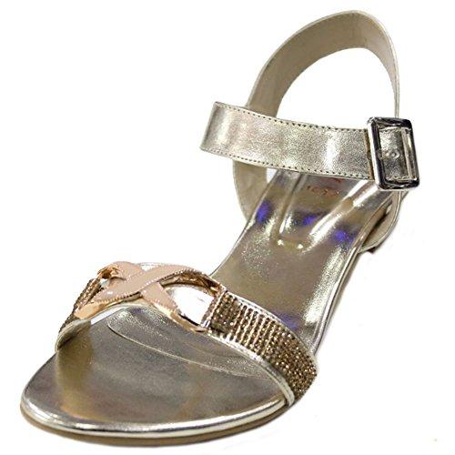 Wear & Walk UK W&W Women Ladies Evening Diamante Low Heel Flat Sandal Party Wedding Shoes Size,Grey Black,Gold(SAN2020) Gold