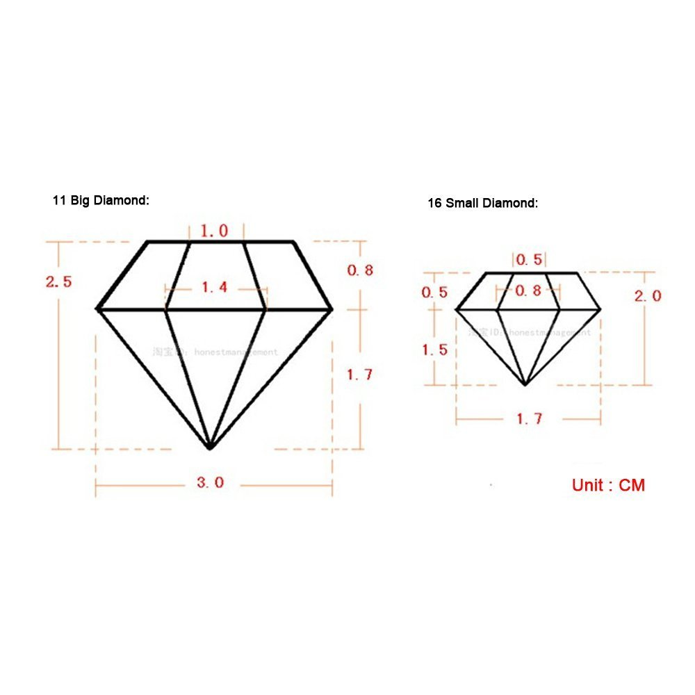 TLT Pack of 2 Silicone 3D Diamonds Gem Shaped Ice Cube Candy Chocolate Mold Red MJ011R