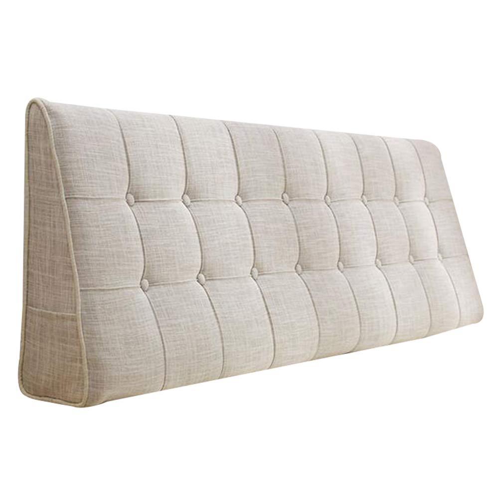 HAIPENG クッション ベッドの背もたれ クッション ために ボードなし 三角 ウェッジ ベッド バックレスト ベッドサイド 枕 布張り 腰椎 ウォッシャブル、 5色 (色 : オフホワイト, サイズ さいず : 160x15x50cm) B07GVGQG7F オフホワイト 160x15x50cm