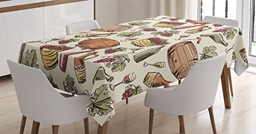 Winery Decor Tablecloth by Ambesonne, Wine Barrel Bunch o...