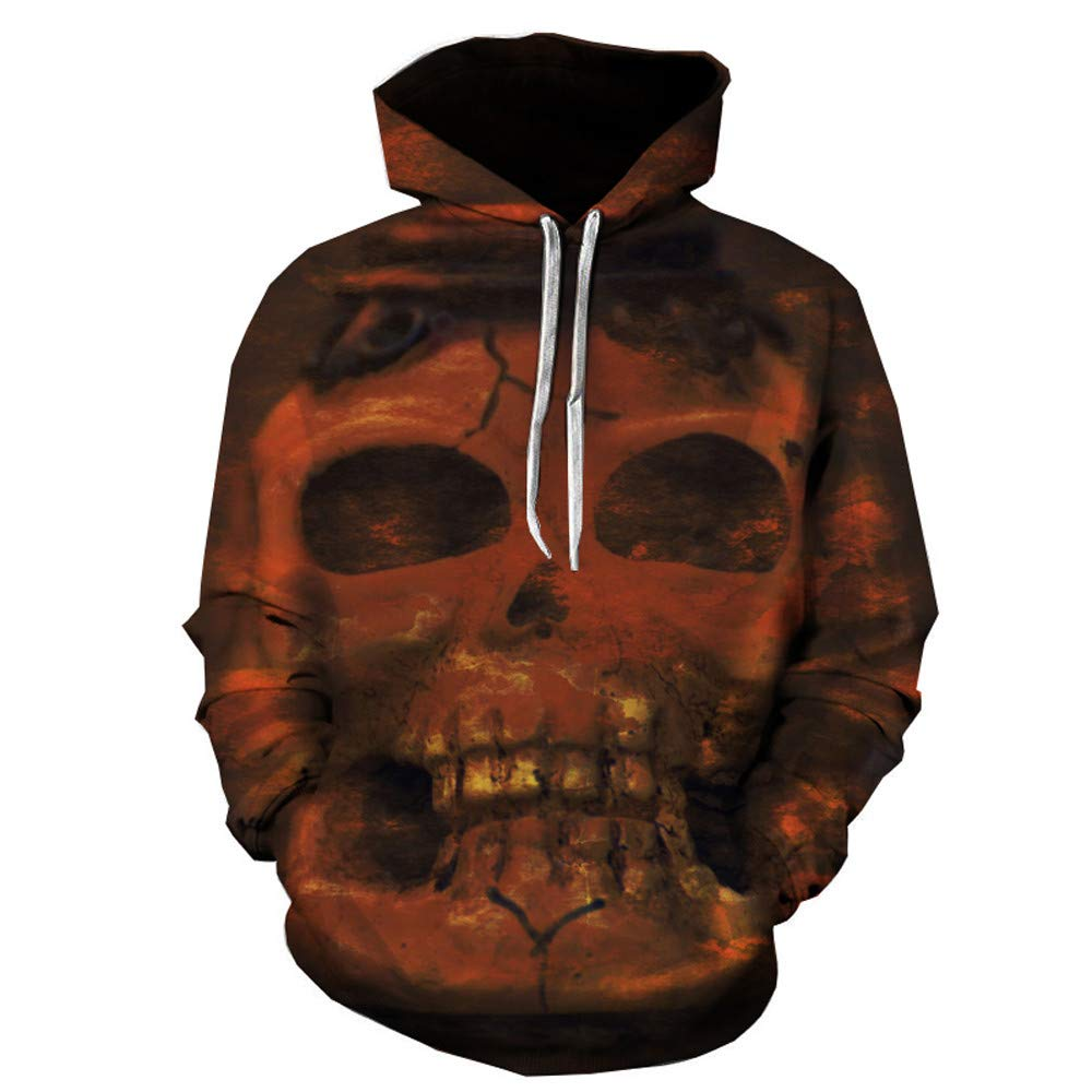 Unisex Realistic 3D Digital Print Pullover Hoodie Hooded Sweatshirt Casual Long Sleeved Sweater with Kangaroo Pockets Brown by Close-dole