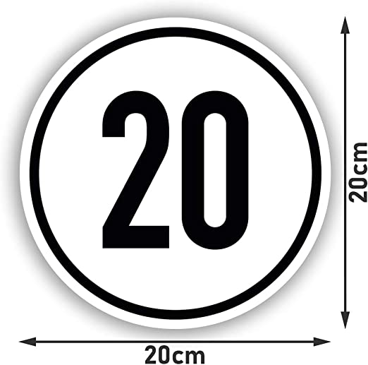 Kavaro 20 Kmh Schild 20 Kmh Aufkleber Nach Din1451 20cm Auto