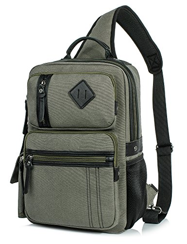 Messenger Bag for Men, Cross Body Shoulder Sling Bag Travel Outdoor Gym Backpack Army green (Messenger Shoulder Sling Bag)
