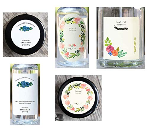 Floral Design Labels Writable, 5 Kinds of floral design, 10 per each, total 50 sheets, For Glass Jars, Plastic Bottle, Multi Purpose Containers, etc, Good for Decoration of Dressing Table or Kitchen