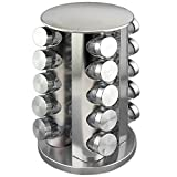 Adorox BEST HOLIDAY GIFT Steel Spice Rack - Round or Square Revolving Stainless Space Saving Kitchen Storage Organizer for Seasoning Dried Herbs (Round 20 Spice Jars)