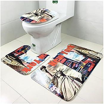 Leopard Print 3pcs Set Toilet Seat Ground Mat Carpet