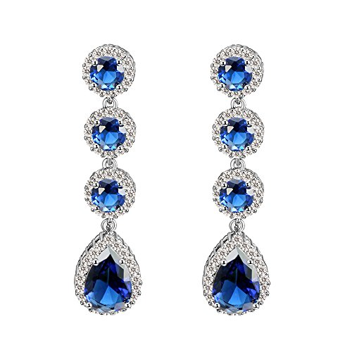 Lavencious Tear Drop Round Dangle Earrings AAA CZ Sapphire Jewelry Wedding Party Prom Rhodium Plated (Blue) (Sapphire Cut Dangling Earrings)