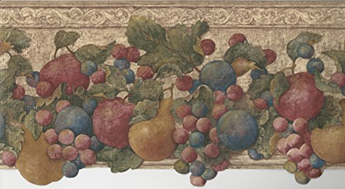 Wallpaper Border Tuscan Fruit Apples Plums Grapes & Pears Red Green Blue Gold Die Cut