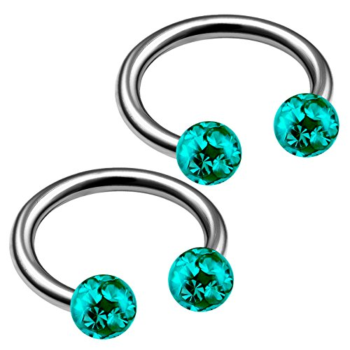 - bodyjewellery 2pcs 16g Barbell Horseshoe Earrings Titanium Lip Cartilage Helix Septum Ear Tragus Barbell Ring Eyebrow Bite Snake Nose B2B2CY