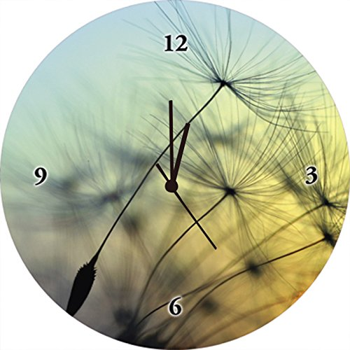 Artland Qualitätsuhren I Funk Wanduhr Designer Uhr Glas Funkuhr Größe: 35 Ø Blumen Pusteblume Gelb H8FM