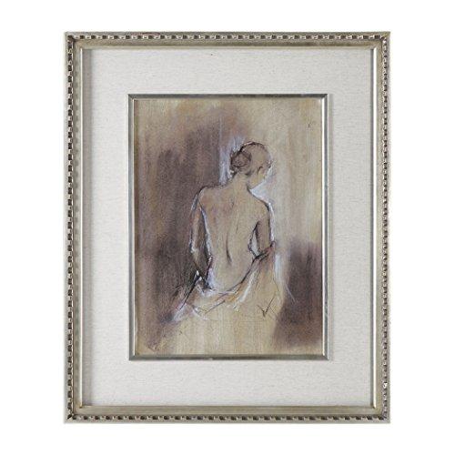Elegant Romantic Woman Figural Wall Art Print | Soft Earth Tones Silver