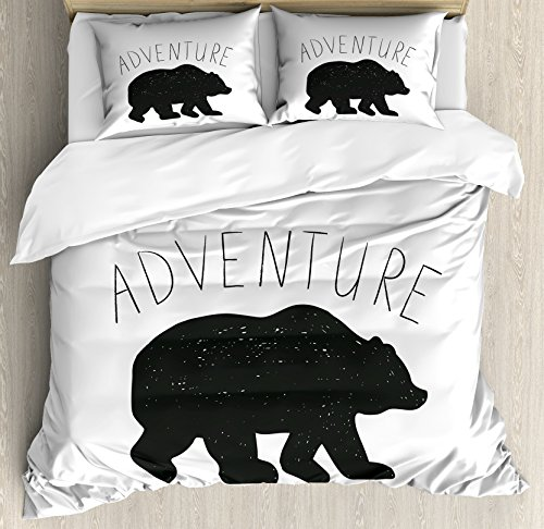 Ambesonne Adventure Duvet Cover Set Queen Size, Black Silhouette of a Wild Bear Zoo Animal Nature Passion Hipster Design, Decorative 3 Piece Bedding Set with 2 Pillow Shams, Charcoal Grey White