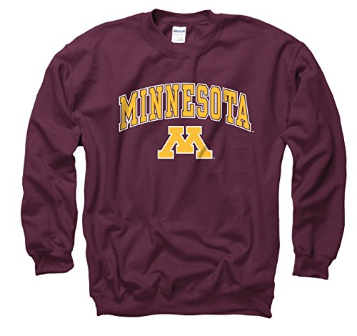 Campus Colors Minnesota Golden Gophers Adult Arch & Logo Gameday Crewneck Sweatshirt - Maroon, Medium