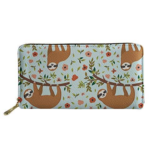 HUGS IDEA PU Leather Long Wallet Sloth Flowers Printing Women's Zipper Purse Clutch