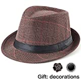 Mens Fedora Hats with Brims - Balck Sun Hat Unisex Summer Straw Fedora Hat Men
