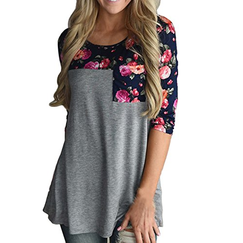 Print 3/4 Sleeve (Froomer Women Floral Prints 3/4 Sleeves Pocket Paneled T-Shirt)