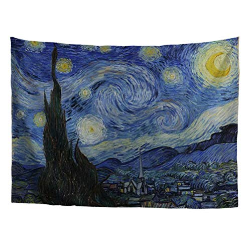 World Classic Art Masterpiece Tapestry Series|Van Gogh,Starry Night,Impressionism, 1889. Classical Art Tapestry, Wall-Hanging Antique, Vintage, Collection, Home Décor