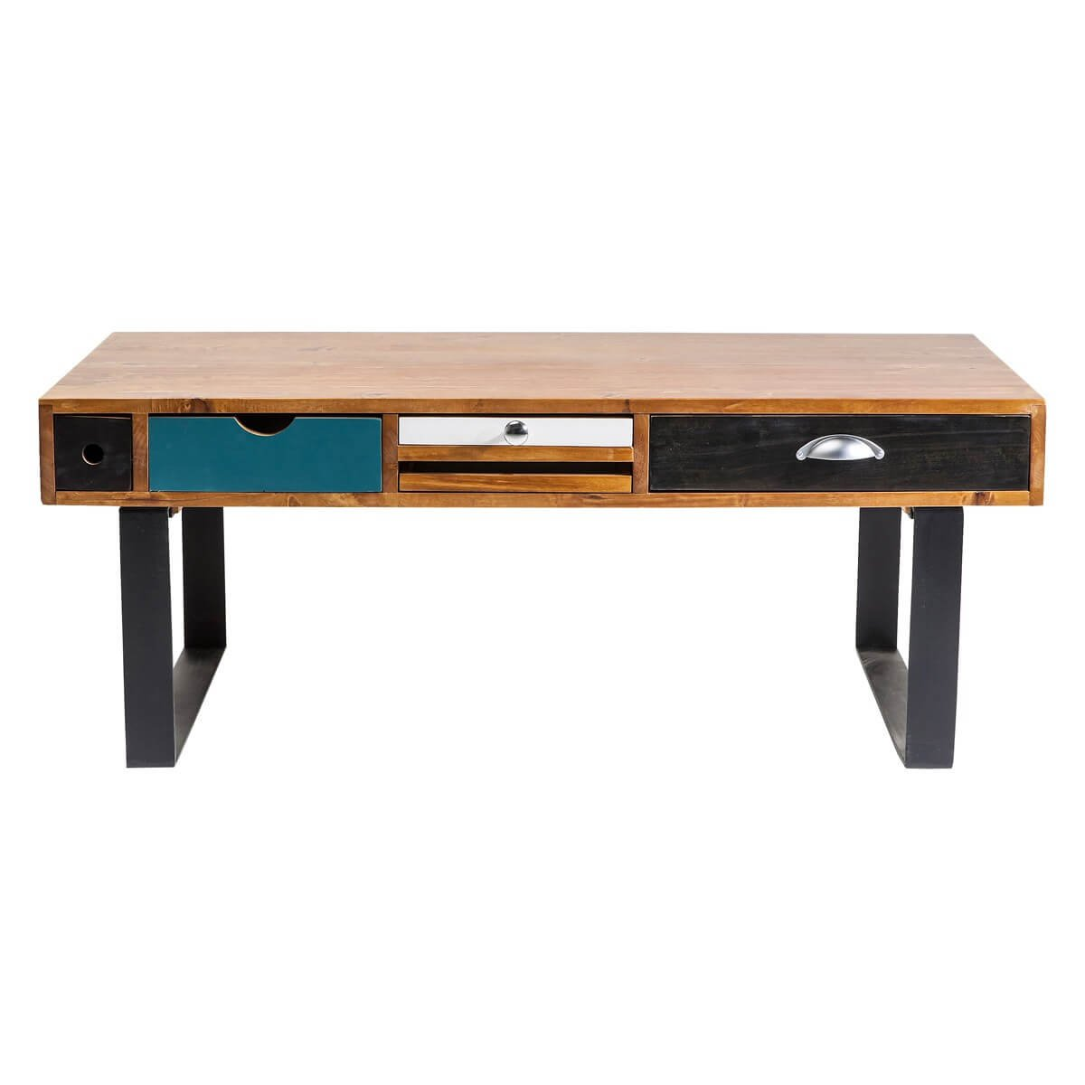 couchtisch wohnzimmertisch babalou kare design holz massivholz eisen braun bunt breite 120 cm. Black Bedroom Furniture Sets. Home Design Ideas