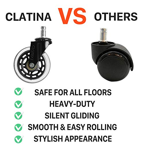 CLATINA Heavy Duty Office Chairs Wheels Replacement for Hardwood Floors and Carpet Rolling Casters Safe Soft Smooth Silent Desk Gamer Computer, 1 Pack