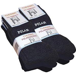 Lot de 6 paires de chaussettes homme Thermo – tissu éponge – noir/gris anthracite/marine bleu