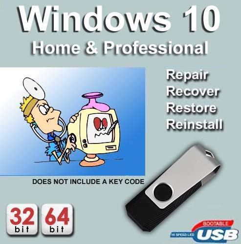Windows 10 64-bit Home + Professional Edition Recovery Reinstall Repair  Recovery Fix USB WINDOWS 10 Home & Pro Repair, Recovery, Restore,  Re-install &