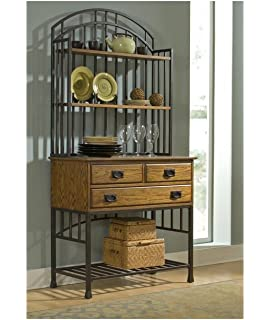 Home Styles 5050 615 Oak Hill Bakers Rack With Hutch, Distressed Oak Finish