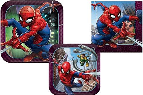 Spiderman Party Supply Pack! Bundle Includes Paper Plates & Napkins for 8 Guests