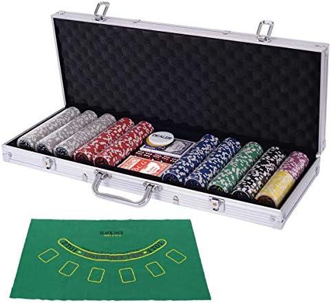 [スポンサー プロダクト]Costway ポーカーチップ チップ 500枚 ポーカーセット カジノチップ トランプ付き カジノゲーム シルバーケース