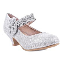 Girls Glitter Blink Bowknot Rhinestone Sparkling Kitten Heels Youth Party Dress Shoes