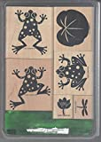 Stampin' Up! Definitely Decorative Leapfrogs 2001 Mounted 6pc Wood Stamp Set