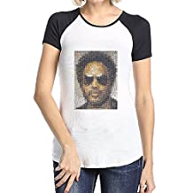 Geneva F Women's Lenny Kravitz Short Sleeve Raglan Baseball T Shirts Black