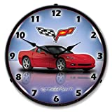Collectable Sign and Clock GMRE1112345 Crystal Red 14″ Corvette C6 Lighted Clock
