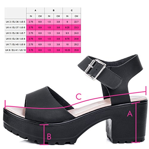 SPYLOVEBUY Block Style Black Pumps Sandals Leather Shoes Heel Women's AKIRA Platform p4rpq