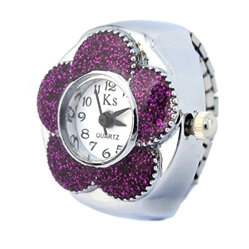 YouYouPifa Flower Dial Arabic Numerals Women Quartz Movement Finger Ring Watch(Purple)