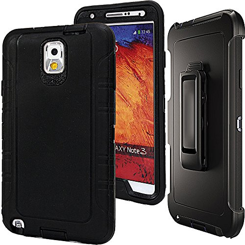 Note 3 Defender Case,Auker Shockproof Scratch Resistant Impact Built-in Screen Protector Military Grade Rugged Holster Full Body Protective Heavy Duty Case with Clip for Samsung Galaxy Note 3 (Black) (Samsung Note 3 Case For Belt)