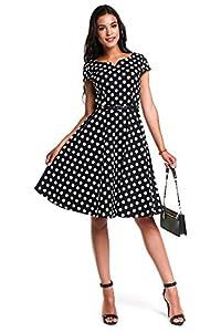 ANETTE 1950s Retro Vintage Rockabilly Short Cap Sleeve Dress Cocktail Picnic Garden Tea Party Swing Dresses