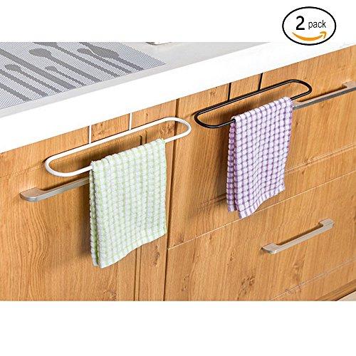 Alliebe 2pcs Towel Rack Hanging Holder for Organizer Bathroom Kitchen Cabinet Cupboard Hanger Over Door(White and Black)