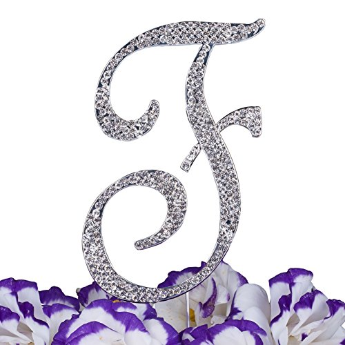 Monogram Cake Jewelry (LOVENJOY Gift Box Pack Personalized Letter F Crystal Rhinestone Wedding Engagement Birthday Bridal Shower Metal Cake Decoration Topper Silver (3.5-inch))