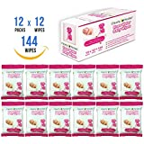 Clearly Herbal Gentle Rose Water Baby Wipes (12 Go Packs, 12 wipes per pack )