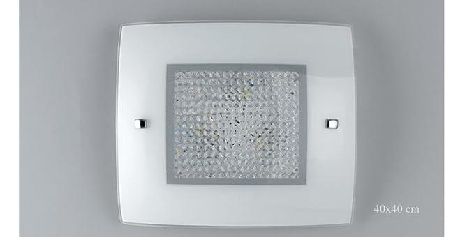 Plafoniera Quadrata Led : Fan europe trilogy vetro bianco plafoniera semplice quadrata con