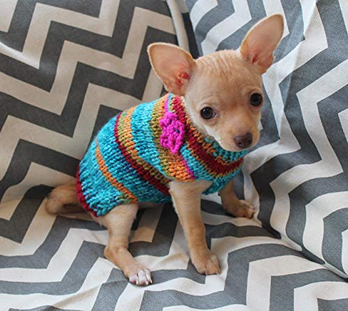 Hand Knit Tiny Dog Puppy Kitten Sweater 1 to 2 LBS ONLY! with Crocheted Flower Option XXXS for Teacup Chihuahua Yorkie ()