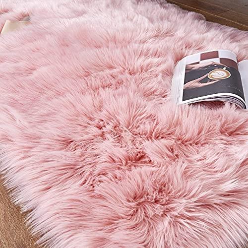 bedee Hochflor Teppich Lammfell-Teppich Langflor Kunstfell Schaffell Teppiche für Wohnzimmer Schlafzimmer Kinderzimmer, flauschig Shaggy Faux Bettvorleger Stuhl Sofa Matte Carpet ( Rosa - 65x102cm )
