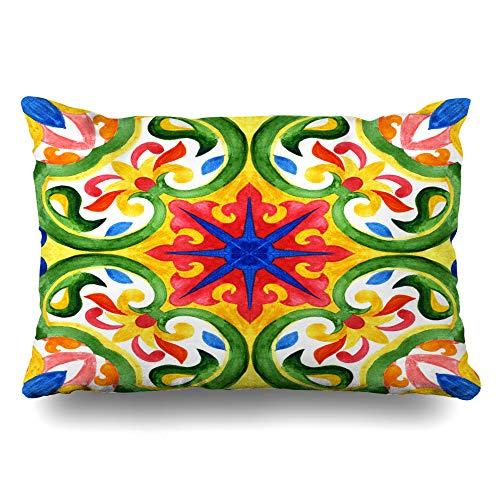 - Ahawoso Throw Pillow Cover Queen 20x30 Mexican Blue Talavera Portuguese Azulejo Tiles Green Faience Gorgeous Pattern Vintage Watercolor Cushion Case Home Decor Pillowcase