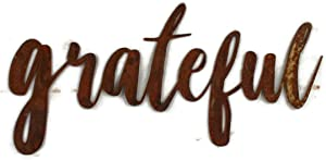 Naturally Rusted Steel Metal Word Art - grateful (Small)