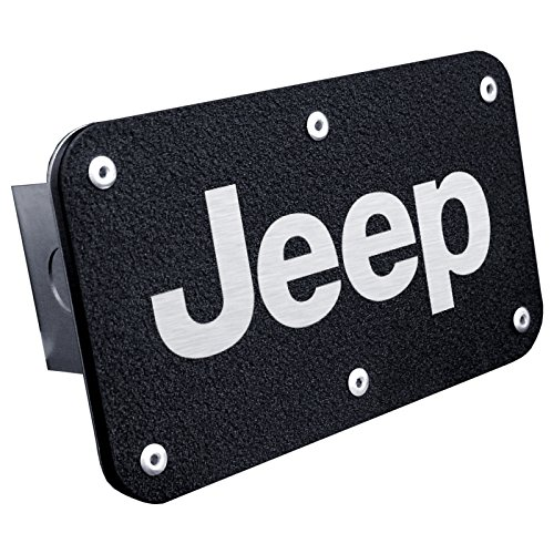 Jeep on Rugged Black Stainless Steel Trailer Hitch Plug - Officially Licensed