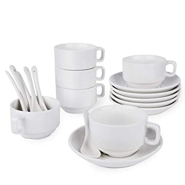 18-Piece Espresso Cups with Saucers and Spoons, 3oz Demitasse Cups, Fine White Porcelain, Stackable Espresso Coffee Mug Sets- for Specialty Coffee Drinks, Latte, Cafe Mocha and Tea-Set of 6