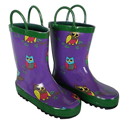 Foxfire for Kids Purple with Owl Rubber Boots Size 12