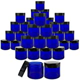 Beauticom 180 Pieces 30G/30ML(1 Oz) Thick Wall Round COBALT BLUE Plastic Container Jars with Black Flat Top Lids - Leak-Proof Jar - BPA Free
