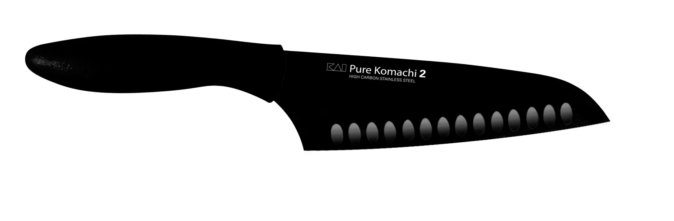 Kershaw Pure Komachi 2 Hollow Ground Santoku Knife, 6.5-Inch, Black